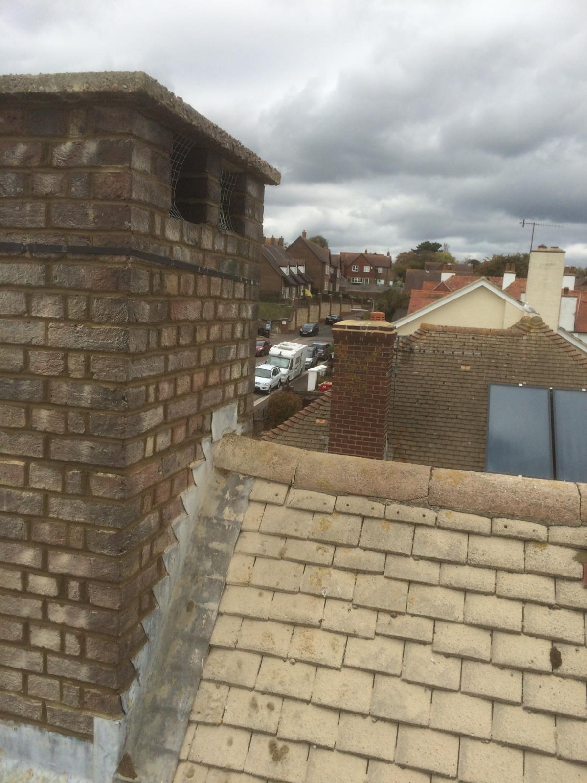 Repointed chimney and replace roof tiles